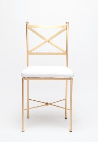 Simplicity is the ultimate sophistication is conceptualized in the Kimberly Chair. Approved for both indoor and outdoor use this flat gold dining chair is chic and sophisticated. It is also available