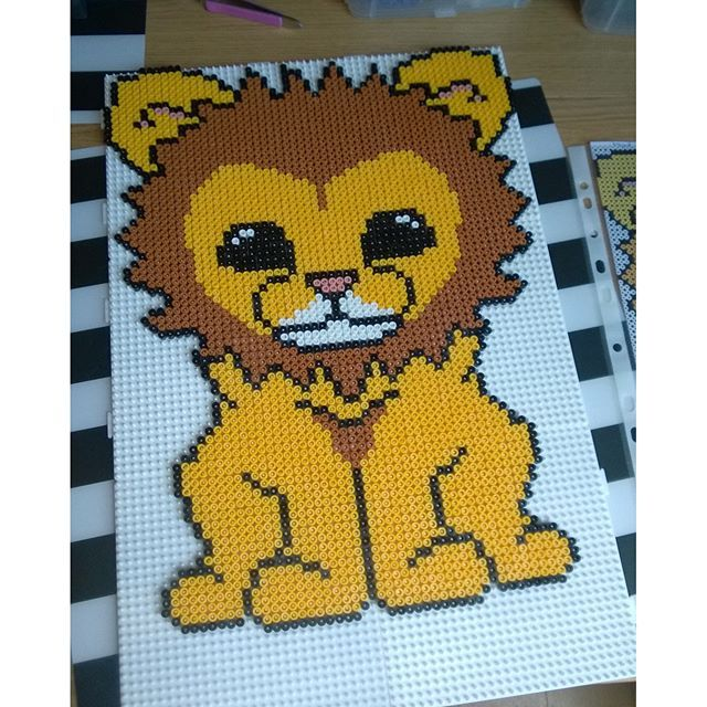 Lion hama beads by Marlene Bang Halgaard - Pattern: https://de.pinterest.com/pin/374291419013031078/