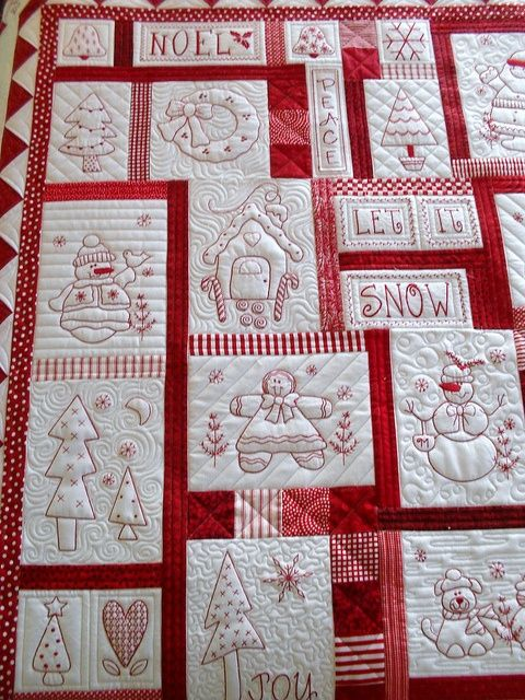 I love this red and white Christmas quilt!!!