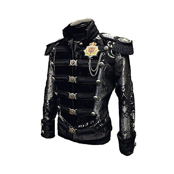 Shrine Gothic Victorian Steampunk Vintage Napoleon Military Army... ($46) ❤ liked on Polyvore featuring outerwear, jackets, goth jacket, fashion military jacket, military style jacket, gothic victorian jacket and military army jacket