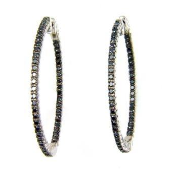 1.00ct tw Caviar Diamond Inside Out Hoop Earrings Sterling Silver
