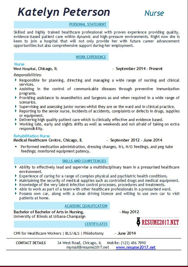 nurse-resume-template-2017-2.jpg (634×900)