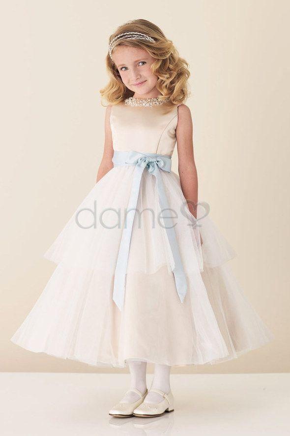 Tüll Satin Prinzessin Perlen Rechteck wadenlanges aufgeblähtes Blumenmädchenkleid