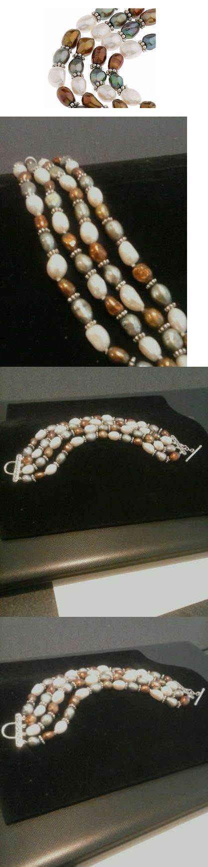 Pearl 164316: Qvc Sterling Artisan 4 Strand Freshwater Multi-Color Pearl Bracelet -> BUY IT NOW ONLY: $36.5 on eBay!