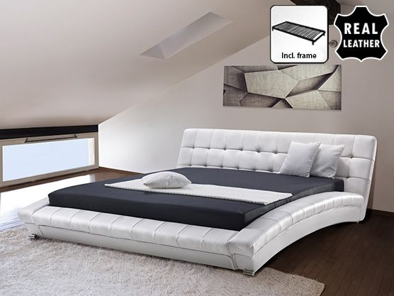 Super King Size - 6 ft - Leather Bed 180x200 cm - incl. stable slatted frame - LILLE White