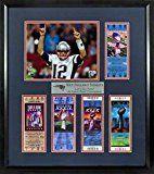 New England Patriots Lets Go Pats! Super Bowl Tickets Display (Feat. SB LI Tom Brady) Framed