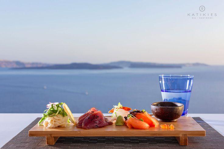 Katikies Hotel | Sashimi | SELTZ Champagne Bar & restaurant | sunset dinner | Santorini, Greece