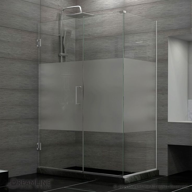 Unidoor Plus 30-3/8-inch x 30-1/2-inch x 72-inch Hinged Shower Enclosure with Half Frosted Glass Door in Brushed Nickel