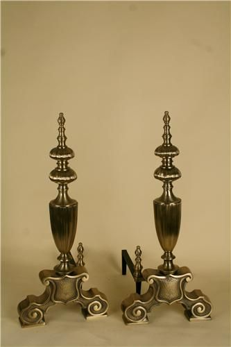 Portland Willamette solid brass andirons. (MSRP $2,906.00), Free Shipping