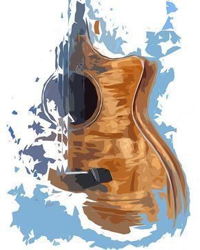 Acoustic Guitar Blue Background 4 Poster by Drawspots