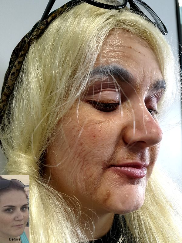 Old age special effects make-up using liquid latex, makeup by kellejmac; image © 2016 kellejmac all rights reserved