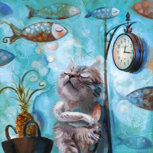 """For the """"One Cat, One Fruit, One Clock"""" Contest. Reminds me of Van Gogh's style"""