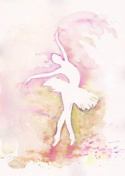 Purple Ballerina Art Watercolor Print my Original Painting 8x11 Dance Ballet…