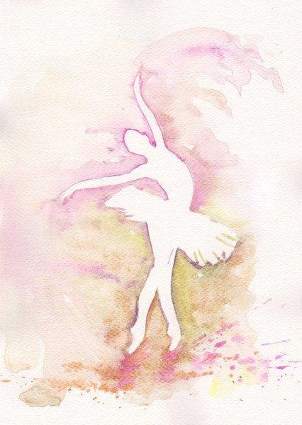 Purple Ballerina Art Watercolor Print my Original Painting 8x11 Dance Ballet Ballerina Home Decor Illustration purple olive