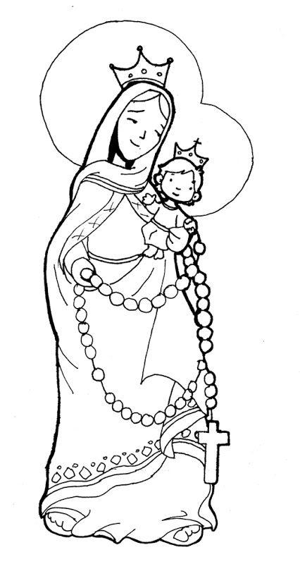 Imagen de la Virgen María del Rosario para colorear