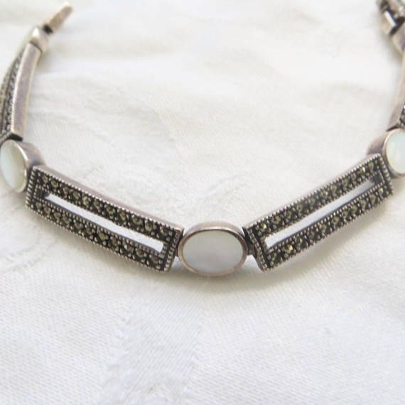 Sterling Silver Marcasite Bracelet with Wave Links and Pearls BOt6I
