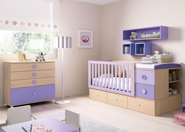 Dormitorio para el beb con cuna convertible en 1 cama - Cuna con cajones ...