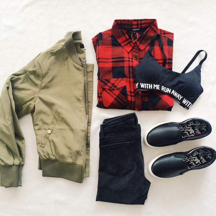#TALLYWEiJL. Red and black plaid shirt + black bralette+ black jeans+ black slip-ons+khaki bomber. Fall outfit 2016