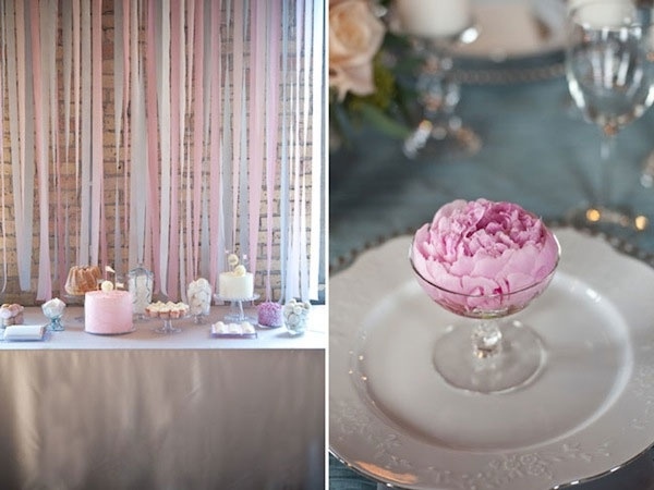 decoration: White Flowers, Decor Ideas, Pretty Colors, Events Design, Parties Ideas, Ribbons Backdrops, Desserts Tables, Pink Peonies, Streamers