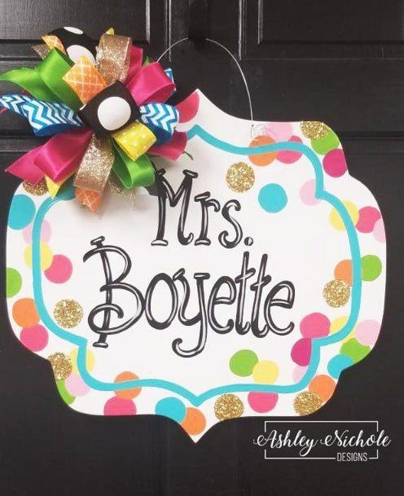 Confetti Name Plaque Door Hanger 1000 In 2020 Christmas Door Hanger Door Hangers Teacher Door Hangers
