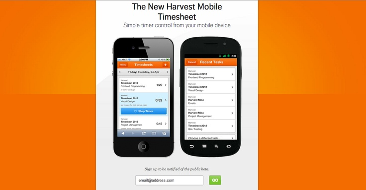 Harvest Mobile Timesheet. Simple timer control from your mobile device.