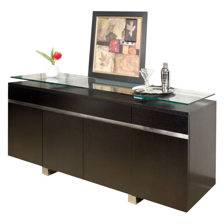 Novo Dining Buffet - Wenge - Sleek materials and modular lines combine to culminate in the Novo Dining Buffet - Wenge. The solid wood base is adorned with a wenge finish for versa...