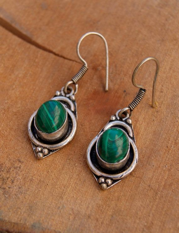 Sterling silver malachite earrings semi precious di ShockedShop