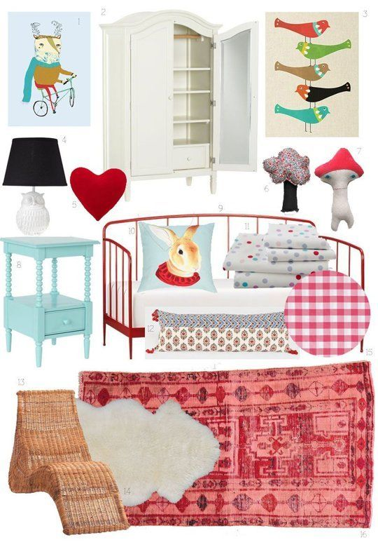 "Colors for Sophie & James' room?  Red & light blue . . . darling.  Kids Room Style Board: Scandinavian-Inspired ""Hyggelig"" 