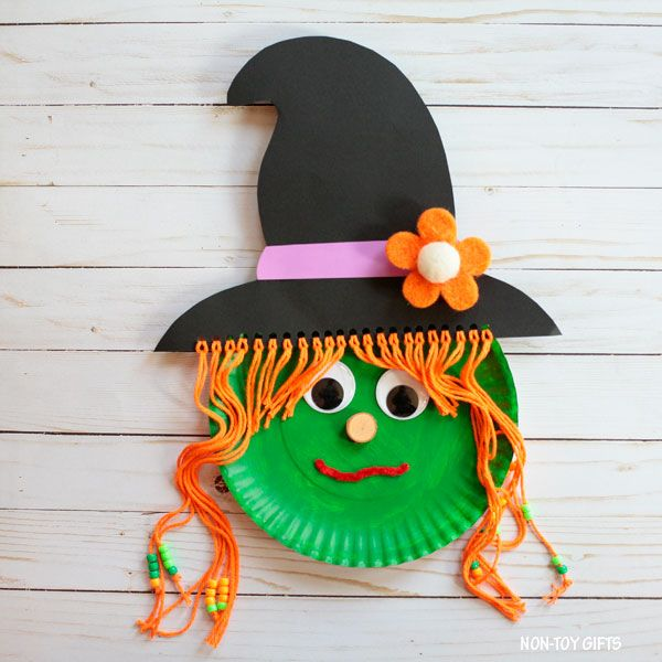 Paper plate Halloween witch craft for kids