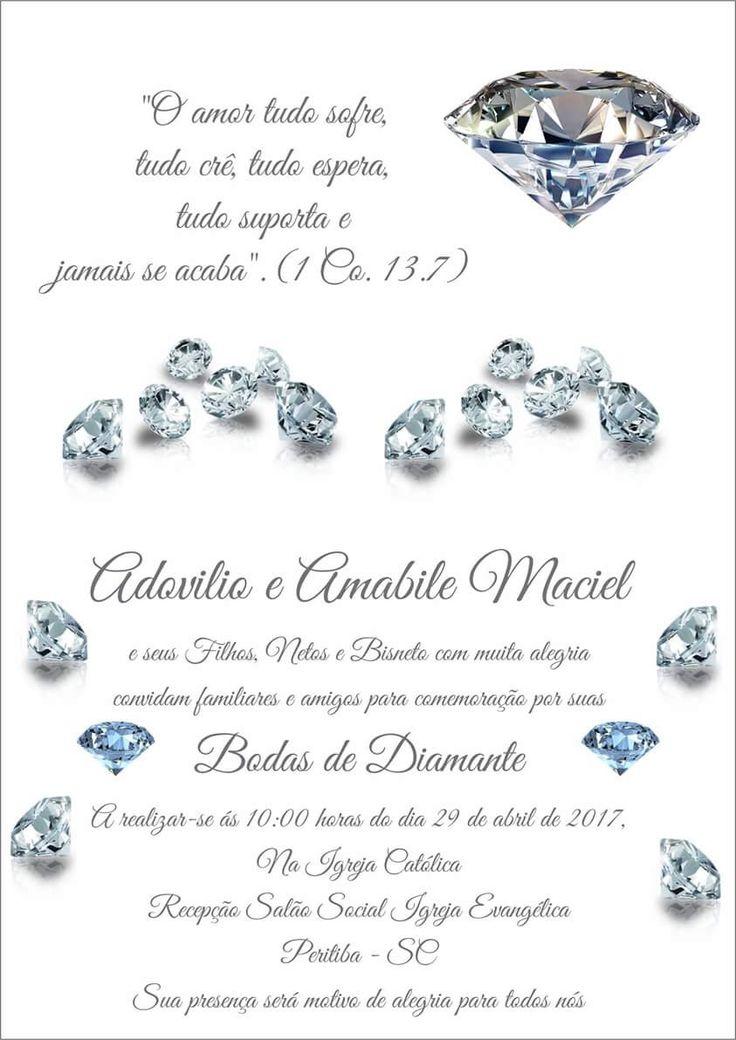 Convite Bodas de Diamante #60anosdecasados #bodasdiamante ...