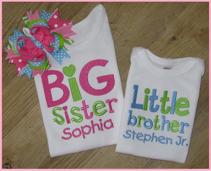 Big Sister, Little Brother Personalized With Name, Sibling -2077