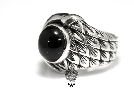 Sterling and Onyx Dragon Scales Ring