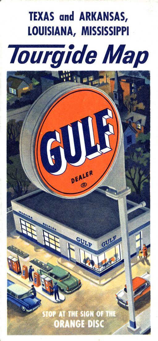 Roadmap Of The Us%0A Vintage Gulf road map