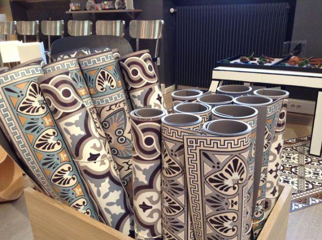 Idée relooking cuisine  carreau ciment vinyl  Recherche Google. tapis de vinyl imitant les carreaux de