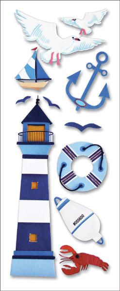 A Touch Of Jolee's A Day At The Beach Dimensional Stickers-Lighthouse for #nautical kids crafts!
