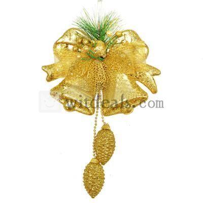 【クリスマスリース】 クリスマスベルベルハンガー(2ベル入り) 38X16cm 金色