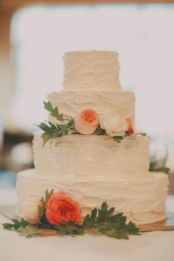 Adorable peach wedding cake!