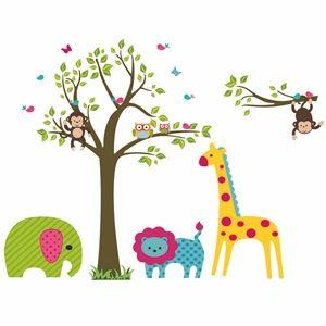 Unique Cartoon Giraffe Elefant mit Baum Bunte Wandtattoo