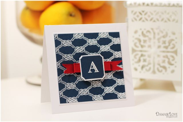Nautical Monogram | Damask Love Blog | using Clear and Simple Stamps Alpha Engraved and Nautical Knots Background stamp