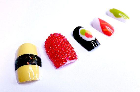 Nail Art Sushi Caviar Sashimi Japanese by NailKandy