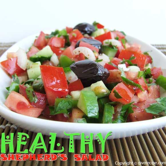 Shepherd's salad with sumac, vinegar and extra virgin olive oil.   giverecipe.com   #salad #healthy