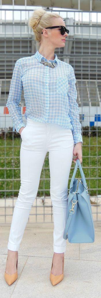 Stradivarius Pastel Blue Gingham Shirt, White ankle pants, Tan/Gold pointy heels, PowderBlue handbag, Black sunnies