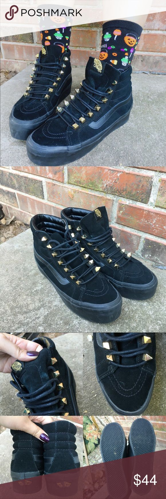 "black vans w gold studs black leather vans w/ gold pointy studs!  sk8-hi 2"" platform. suuper comfy! worn a handful of times, great condition just a few scuffs. ⭐️womens 8.5 men's 7⭐️ Vans Shoes Platforms"