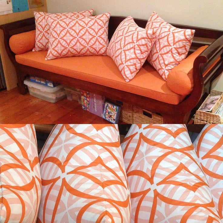 Bench seat cushion and cushions in Warwick fabric Kona calippo and Coolum melon.
