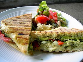 Vegan Thyme: Panini with Avacado, Roasted Pepper and Zuke
