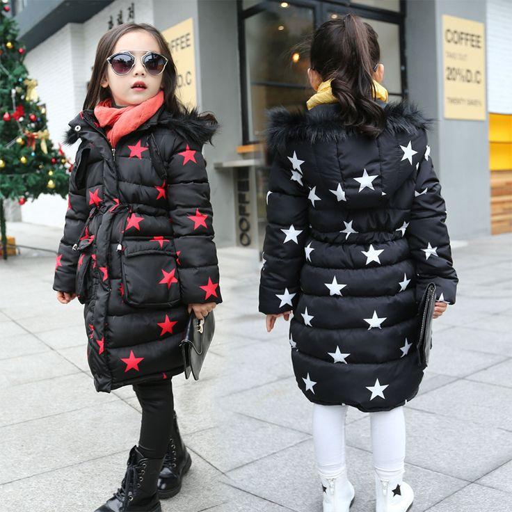 2016 New Children's winter coat big virgin cotton warm jacket girls pentagram pattern coat kid Thick Padded Outwear wholesale