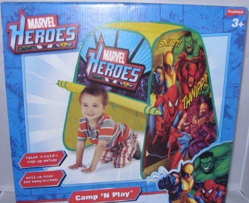Marvel Heroes Camp 'N Play Pop Up Tent (Hulk, Spiderman, Avengers, Wolverine, Daredevil & Hawkeye) by Marvel. $25.95. Twist 'n fold, pop-up setup. Tunnel port for additional structure expansion. Collect and configure to other Marvel heroes structures with hook and loop straps from playhut. Folds down flat for easy storage. Roll-up door for easy access. This playhut folds down for quick and easy storage when not in play.  It also offers a tunnel port for additional ...