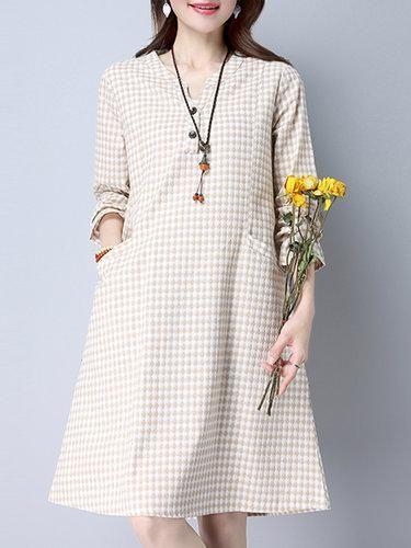 24b2d01f878a #Valentines #AdoreWe #PopJulia - #PopJulia Beige Stand Collar Checkered/ Plaid Casual Dress - AdoreWe.com
