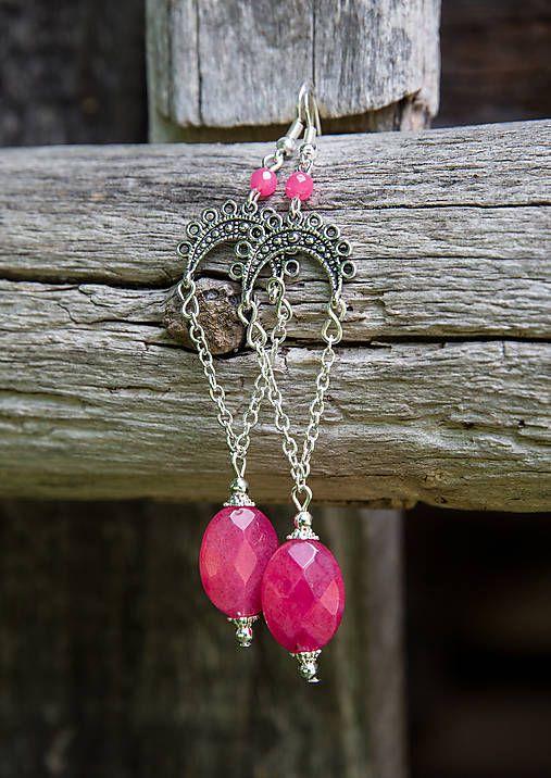 gabi111 / Dlhé retiazkové - ružové jadeity - náušnice