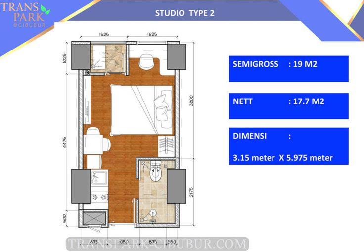 Denah apartment TransPark Cibubur tipe Studio 2